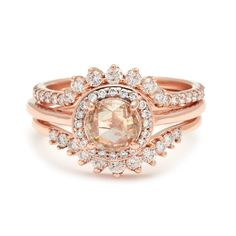 Rosette Ceremonial set in 14k Rose gold with White Diamond – Anna Sheffield Jewelry