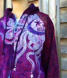 Hot Pink Moonbeam Batik Hoodie Size L Ready to by Batikwalla