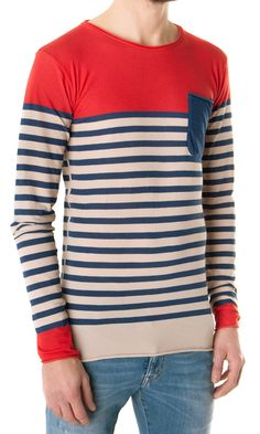 Laneus T-shirt: blue & white blend stripe, long sleeve € 127,00