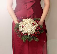 Christmas Bouquet - Winter Wedding Holiday Bridal Bouquet with Pearl Flowers - Wedding Bouquets - Great Brooch Bouquet Alternative. $175.00, via Etsy.
