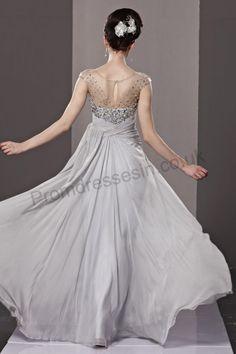 Silver Bateau Neck Sleeveless Tencel Formal Dress 2013