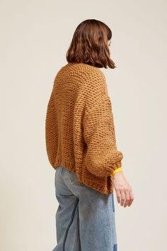 Maiami Wool Big Cardigan in Ochre
