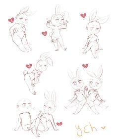 (closed) ych mini chibi - bunnies time by LobaMagica Drawing Base, Manga Drawing, Figure Drawing, Cartoon Drawings, Art Drawings, Chibi Bunny, Wie Zeichnet Man Manga, Chibi Sketch, Drawing Reference Poses