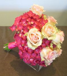 hydrangea and rose handtied bouquet