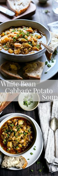 Hearty nourishing and simple to make. Hearty nourishing and simple to make. White Bean Cabbage Potato Soup is a steamy one pot recipe that will serve up cozy during the coldest months of the year. or Vegan Gluten Free. Vegetarian Cabbage, Vegetarian Soup, Vegan Soups, Vegetarian Recipes, Healthy Soup Recipes, Whole Food Recipes, Cooking Recipes, One Pot Meals, Easy Meals