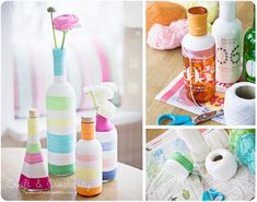 Old bottles can become new again with some multicolored yarn. | 28 Super Easy Yarn DIYs That Require Zero Knitting