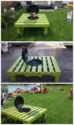 Grill/fire pit table made out with a pallet