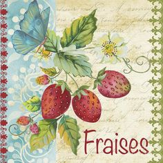 Digital Print featuring the painting Vintage French Fruit-jp3108 by Jean Plout