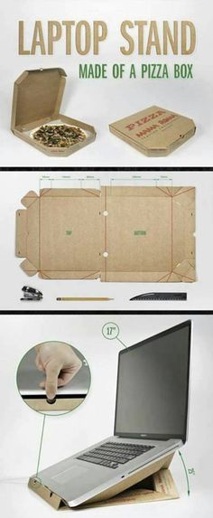 upcycle those old pizza boxes! Sounds like a college DIY. pizza box laptop stand