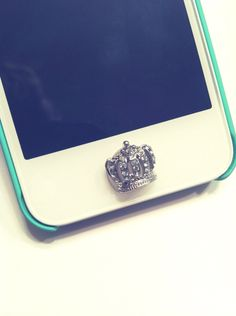 Adorable Small Crystal Button Sticker for iPhone Home Button Rhinestone Sparkle Phone Accessory Pretty Girly Charm FREE SHIPPING. $7.00, via Etsy.
