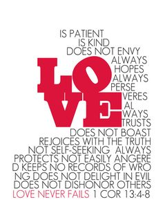 LOVE. 1 Corinthians 13:4-8. Stretched Canvas