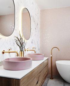 Bathroom interior 439663982368306949 - bathroom inspiration design, light pink bathroom, pink basin, vanity designs Source by Bathroom Interior Design, Interior Design Living Room, Interior Decorating, Modern Interior, Gold Interior, Decorating Games, Interior Designing, Design Interiors, Interior Architecture