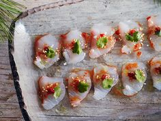 This Snapper Crudo with Chiles and Sesame is an easy yet elegant appetizer to serve at a holiday party. I think this would be a great and easy way to dress up snapper sashimi from my favorite sushi place! Sesame Recipes, Fish Recipes, Seafood Recipes, Cooking Recipes, Curry Recipes, Gourmet Recipes, Recipies, One Bite Appetizers, Appetizer Recipes