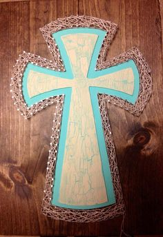 String Art Cross with Crackle Paint by NailedItDesign on Etsy, $29.00