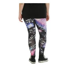 Hot Topic Cosmic Galaxy Music Note Leggings Plus Size ($22) ❤ liked on Polyvore featuring pants, leggings, galaxy print leggings, galaxy leggings, women's plus size pants, nebula print leggings and womens plus pants