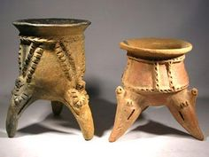 """Tripod Vessels — Costa Rica   300 AD - 700 AD   Two Costa Rican tripod vessels. Both with rows of applied decoration and hollow rattle legs in the form of stylized birds.   Tripod 1 (left). Tan terracotta with condiderabe fire clouding. Small rim chip restored otherwise intact. Approx 6.75"""" tall.   Tripod 2 (right). Redware with minor fire clouding. Intact with no repairs or restoration. Approx 5.5"""" tall.   $275 each or $500 for both."""