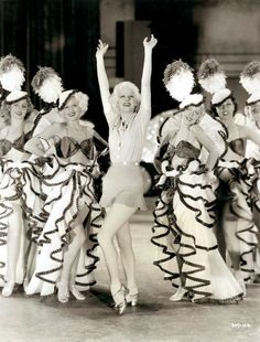 American actress Jean Harlow surrounded by a group of dancers during the filming of the MGM musical comedy 'Reckless'. Get premium, high resolution news photos at Getty Images Old Hollywood Movies, Golden Age Of Hollywood, Vintage Hollywood, Hollywood Glamour, Hollywood Stars, Hollywood Actresses, Classic Hollywood, Actors & Actresses, Hollywood Celebrities