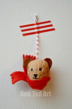 Red Ted Art's Walnut Crafts - Bear Ornaments Christmas Activities, Christmas Crafts For Kids, Christmas Projects, Handmade Christmas, Holiday Crafts, Ornament Crafts, Xmas Ornaments, Noel Christmas, Christmas Gifts