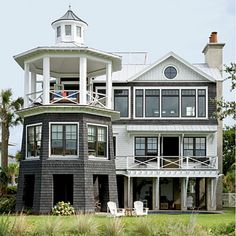This Lighthouse-Inspired Home This beautiful Lowcountry beach house is modeled after a historic local lighthouse.This beautiful Lowcountry beach house is modeled after a historic local lighthouse. Beach Cottage Style, Coastal Cottage, Coastal Homes, Beach House Decor, Coastal Style, Beach Homes, Beach House Designs, Coastal Decor, Cottage Rugs