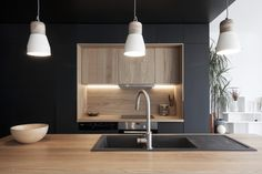 """When the kitchen is stylish, comfortable and expressive, then it can """"make"""" the interior of any apartment or house. Take a look at this beautiful modern ✌Pufikhomes - source of home inspiration Black Kitchens, Home Kitchens, Kitchen Black, European Kitchen Cabinets, Fix Fix, Backyard Seating, Parisian Apartment, Kitchenette, Kitchen Interior"""
