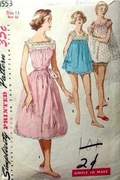 Vintage 1950 s Sewing Pattern  Shortie Nightgown Baby Doll Bust 32  (G)