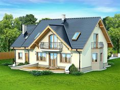 This four bedroom classic house design is an interesting proposition for people with medium-wide plot. The house has a typical shape, which greatly facilitates the construction process. House Plan With Loft, My House Plans, Country House Plans, Small House Plans, Roof Design, Exterior Design, New Model House, House Construction Plan, Classic House Design