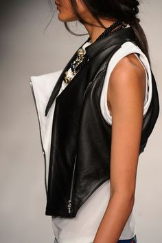 omg + love this + black and white + vest + leather + plain tee
