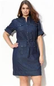 Kors Denim Casual Shirt Dress for Plus Size