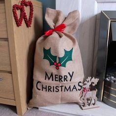 'Merry Christmas' Rustic Hessian Christmas Sack Gift Bag