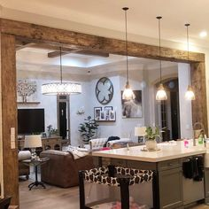 innenarchitektur holz Exposed Wood Beams Made to Order Wood Beam Ceiling Kitchen, Living Room Kitchen, Exposed Wood, Brick Exterior House, Kitchen Remodel, Home Remodeling, Home Decor, Rustic Kitchen, Kitchen Design