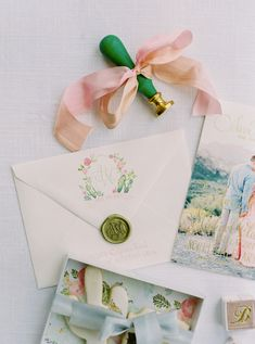 pastel watercolor invitations by Kara Anne Paper | Photography: Daniel Kim