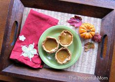 Gluten Free Mini Pumpkin Pie Recipe--The Peaceful Mom. Really cute gift idea for the Gluten Free friend or family member!