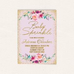 Pin by connie hartfield on sprinkle shower pinterest sprinkle floral baby sprinkle invitation lavender girl baby sprinkle invite purple and gold printable digital baby sprinkle invitation 5x7 jpg 6a filmwisefo Gallery
