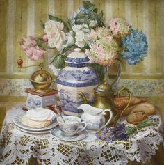 Watercolor still life by V.Kiryanova  Beautiful, love teapots and cups 'n saucers.