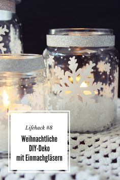 Lifehack # Christmas DIY Deco with Mason Jars - 4 Ideas Easy Christmas Crafts, Simple Christmas, Christmas Decorations, Christmas Ideas, Snow Flakes Diy, Christmas Mason Jars, Painted Mason Jars, Diy Candles, Diy And Crafts