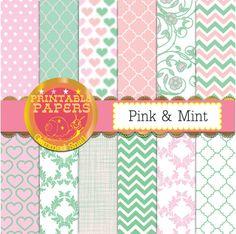 Pink and mint digital paper pink mint backgrounds by GemmedSnail  https://www.etsy.com/listing/186573524/pink-and-mint-digital-paper-pink-mint?ref=shop_home_active_1