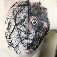 Black and grey Lion tattoo by artist Frank Carrilho Trendy Tattoos, Tattoos For Guys, Cool Tattoos, White Tattoos, Sketch Style Tattoos, Tattoo Sketches, Home Tattoo, I Tattoo, Lion Chest Tattoo