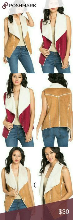 SLEEVELESS SHORT SUEDE VEST WITH FAUX FUR LINING SLEEVELESS SHORT SUEDE VEST WITH FAUX FUR LINING100% POLYESTER BURGUNDY S/M Jackets & Coats Vests