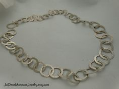 Silver Dreams-chunky, hand wrought sterling silver large link chain necklace $255. by JoDeneMoneuseJewelry