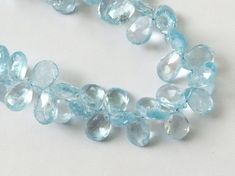 Blue Topaz Beads Blue Topaz Faceted Pear Original by gemsforjewels
