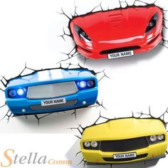 Blue Yellow Sports Wall Sticker Home Decor Car Light – From Parts Unknown Boys Bedroom Decor, Bedroom Themes, Bedroom Wall, Bedroom Ideas, Bedroom Colors, Race Car Bedroom, Car Themed Bedrooms, Sports Wall, Man Cave Home Bar