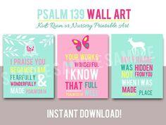 Nursery Wall art  - Girl's Room Art - Woodland - Bible Verse - Deer Butterfly Bird - Religious - Printable - Psalm 139 - INSTANT Download