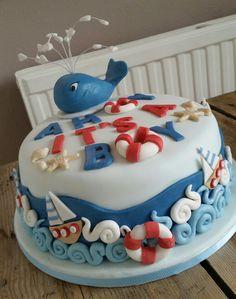 baby shower cake nautical themed