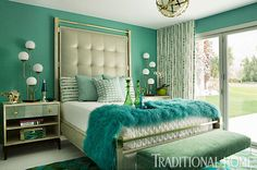 turquoise bedroom designed by Michael Ostrow & Roger Stoker