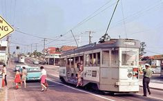 """Tram Terminus Enoggera, Brisbane, Queensland - it used to cost threepence to get to school. """"Don't get killed crossing to the footpath""""."""