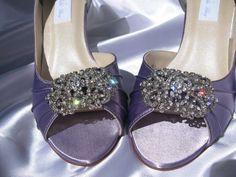 Vintage Style Wedding Shoes Bridal Satin Pale Purple Shoes Over 100 Colors To Pick From Wedding Shoes with Rhinestone Crystal Flower. $135.00, via Etsy.