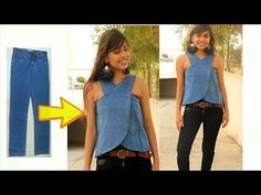 Sewing Top DIY: Convert/ Recycle, Reuse old jeans into girls wrap top Diy Old Jeans, Diy Bags From Jeans, Men's Jeans, Blue Jeans, Sewing Clothes, Diy Clothes, Girls Denim Jacket, Denim Crafts, Upcycled Crafts