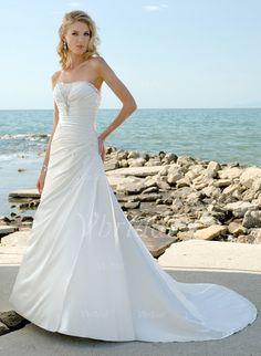 Wedding Dresses - $168.66 - A-Line/Princess Strapless Court Train Charmeuse Wedding Dress With Ruffle Beading (0025055815)