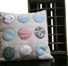 Circles Hand Stitched on Linen Pillow Cover || Namoo $42.50