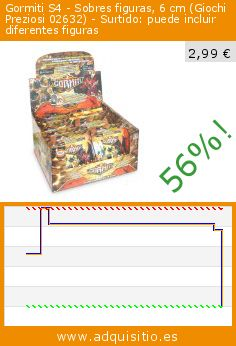 Gormiti S4 - Sobres figuras, 6 cm (Giochi Preziosi 02632) - Surtido: puede incluir diferentes figuras (Juguete). Baja 56%! Precio actual 2,99 €, el precio anterior fue de 6,82 €. http://www.adquisitio.es/gormiti-s4/sobres-figuras-6-cm-02632